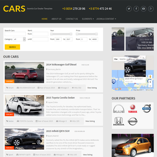 download free cars joomla template