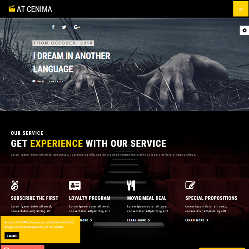 AT Cinema Responsive Movie theater Joomla Template