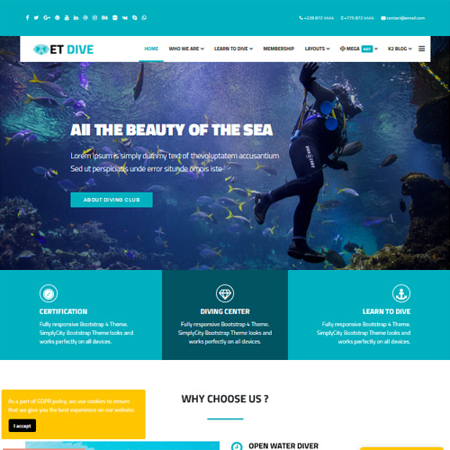ET Dive Responsive Swimming Lesson Joomla Template