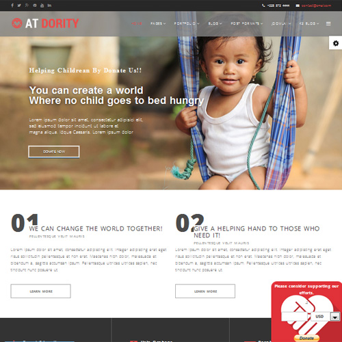 AT Dority Onepage Responsive Onepage Joomla Non Profit Template