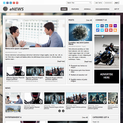 Download Free Enews Joomla Template - E news template