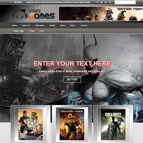 Free Games Joomla Template by Diablo Design