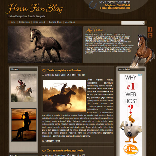 DD Horses Fan Blog Joomla Template