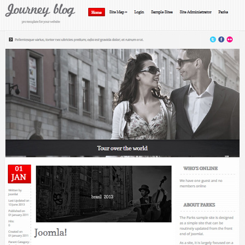 Journey Blog Red Joomla Template
