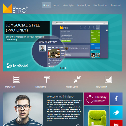 JSN Metro Joomla Template for JomSocial