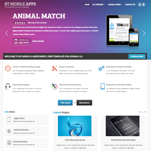 Mobile Apps Joomla Template