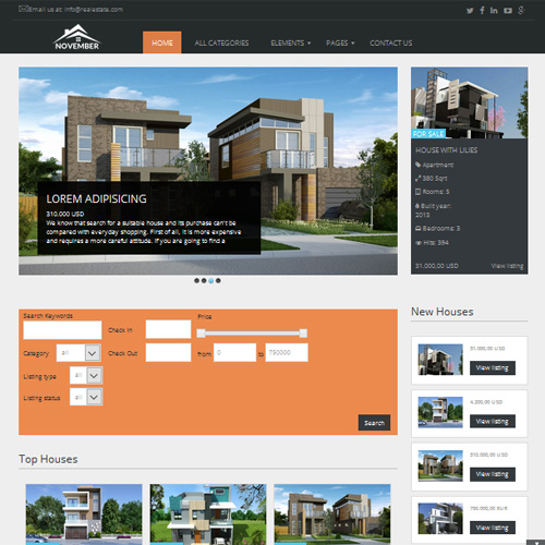 November Joomla Real Estate Template by OrdaSoft