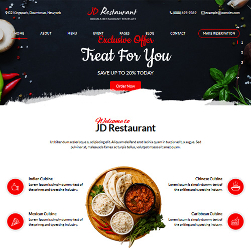 download free jd restaurant joomla template