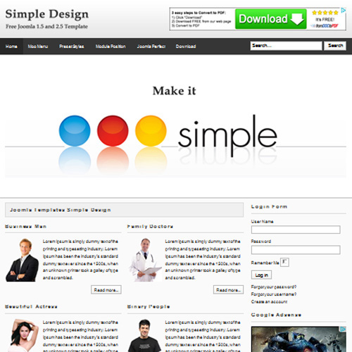 simple design responsive joomla template