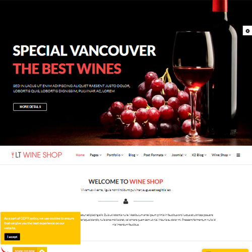 LT Wine Shop Responsive Joomla Template